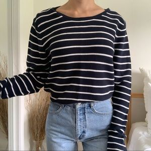 H&M Navy Blue Striped Long Sleeve Sweater